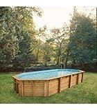 Piscine hors sol en bois karibu ocea 8,6 x 4,70 x1,30m liner bleu - nortland ubbink...