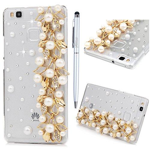 Custodia Huawei P9 Lite,Trasparente Fatto a mano 3D Glitter Bling Strass Cover Rigida Plastica Hard - MAXFE.CO Case Cristallo Diamante Plastica PC Duro Protettiva - Perle, Fiori