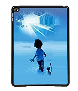 PRINTVISA A Boy Walking on Sea with Cat Premium Metallic Insert Back Case Cover for Apple IPad Air 3 - D5671