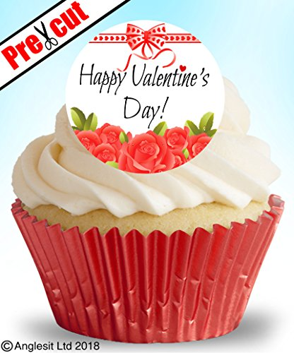24 x vorgeschnittene Kuchendekorationen Happy Valentine's Day V VII.b essbares Reispapier, Cupcake-Dekoration für Valentinstag, Hochzeit, Jubiläum, Party-Dekoration