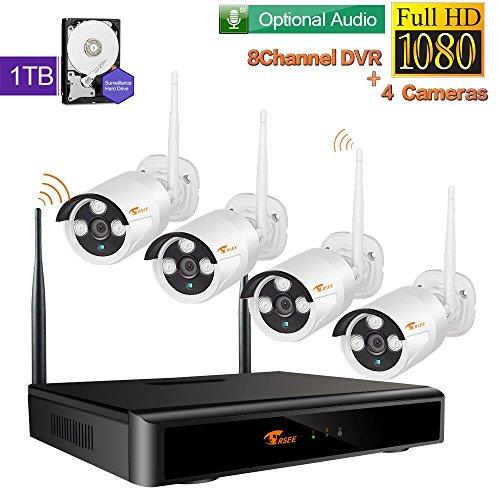 [Mit Audio-Funktion]CORSEE 8 Kanal 1080P HD wifi Überwachungs Bausatz Drahtloses System mit 4 Stück 2.0MP Funk WLAN Outdoor Netzwerk Außen CCTV Video Überwachungskamera, wifi nvr kit, 1TB Festplatte
