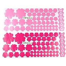 SODIAL(R) 2X Pegatina Adhesivo vinilo decorativo pared Flor Rosa Rojo 20*50CM