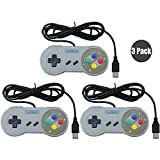 Exlene® 3 Pack Retro USB SNES Super Nintendo Game Controller Gamepad Joystick für Windows PC / MAC