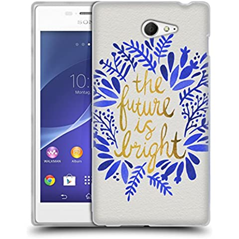 Official Cat Coquillette Future is Bright Gold Quotes Typography 1 Soft Gel Case for Sony Xperia M2