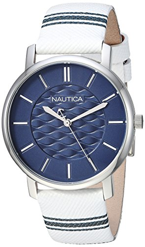 Nautica Women's 'Coral Gables' Quartz Stainless Steel and Nylon Casual Watch, Color:White (Model: NAPCGS002)