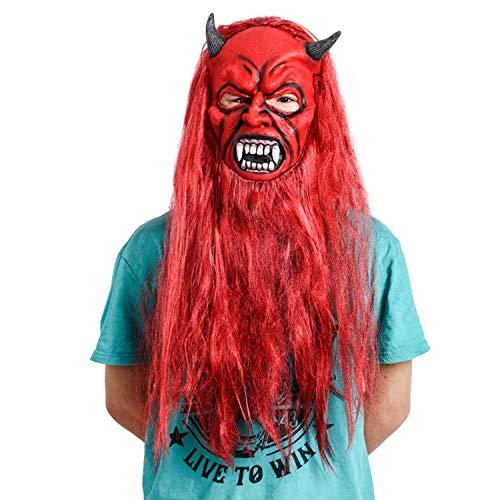 WYJSS Rotes Haar Monster Langer Bart Halloween Horror Maske Latex Maske Deluxe Neuheit Lustige Maskerade Dance Party Leistung Cosplay Requisiten,Red-OneSize (Halloween Bar New Wave)