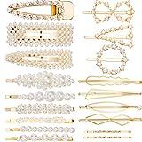18 Stücke Perlen Haarspangen Haarnadeln aus Metall Haarspangen Zubehör Brautjungfer Haarspangen für Damen Mädchen (Gold, 18 Stück, 18 Stil)