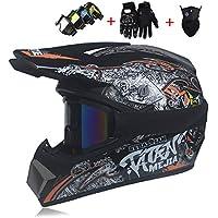 KTM Motocicleta Todoterreno Casco, Motocicleta Pequeño Casco Todoterreno Racing Luz Montaña Cara Completa Casco Ocular