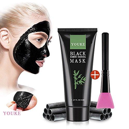 Blackhead Remover Maske mit Pinsel, Kohle Reinigung Mitesser Akne-Entferner Peel-Off-Gesichts Tiefenreinigung Black Mask 60 G