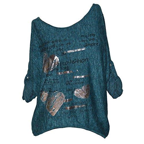 Femme Tshirt Oversize Pull manches longues - Juleya Femmes Shirt Sweat Jumper Crewneck Blouse Baggy Tops Lettre Impression Vêtements d'extérieur 6 Couleurs S M L 2XL 3XL 4XL 5XL blue