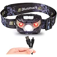Head Torch, Blusmart Headlamp LED Rechargeable USB CREE Headlight Perfect for Running Walking Camping Reading Hiking DIY and More (USB Cable Included) (Black)