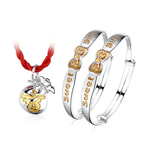 paquet cadeau boîte/925 Pendentif argent/ de bracelet bébé/Parents béni sac bijoux/ bébé et cadeau de pleine lune pour enfants C