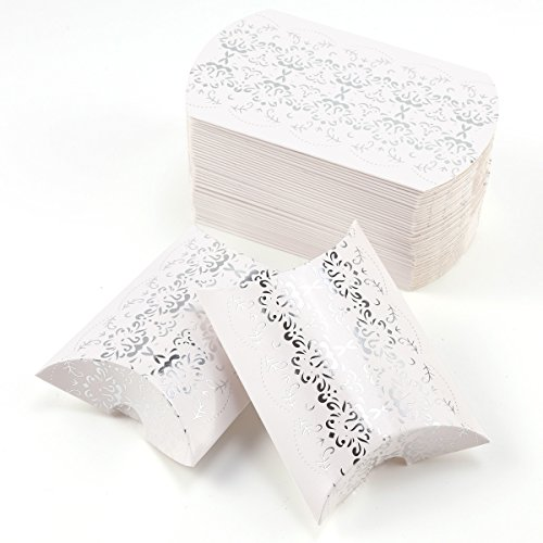 CLE DE TOUS - 50pcs Cajitas de boda dulces Pequeños regalos Detalles para bodas Cajas petaca Blanca con plateado