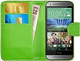 G-Shield HTC One Mini 2 Hülle mit Kartenfach Ledertasche Klapphülle PU Leder Schutzhülle Tasche Flip Case Cover Etui Handyhülle mit Displayschutzfolie und Stylus - Grün