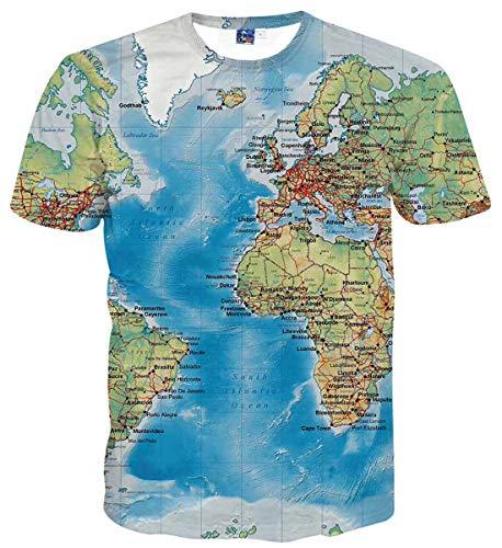 Sykooria Teens T Shirt Tees Kurzarm Lustig 3D Druck Überall Muster Weltkarte Lässig Farbe Männer Herren T-Shirts Blau T-shirts Für Teens