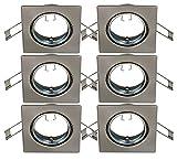 Trango 6er Set Einbaustrahler I Einbaueluchten in Edelstahl Look I Strahler inklusive 6x GU10 Keramik Fassung direkt 230V geeignet für LED & Hallogen Leuchtmittel