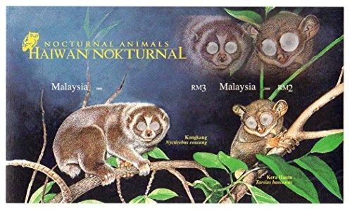 Los animales nocturnos naturaleza menta sello hoja imperforado para los coleccionistas que ofrecen loris Sunda Suwal y Cephalopachus bancanus / Malasia / 2008/2 sellos