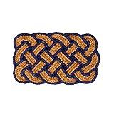 Maritime Fußmatte / Fußabtreter aus geflochtenem Hanf, natur / blau