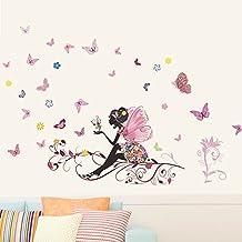Zooarts Adhesivo mural extraíble, diseño de hada y mariposas