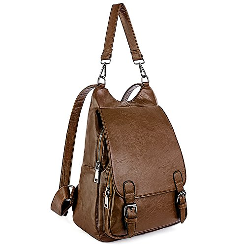 UTO Damen Backpack Purse PU Washed Leder gross Capacity Ladies Rucksack Schultertasche Brown (- Brown-leder-rucksack)