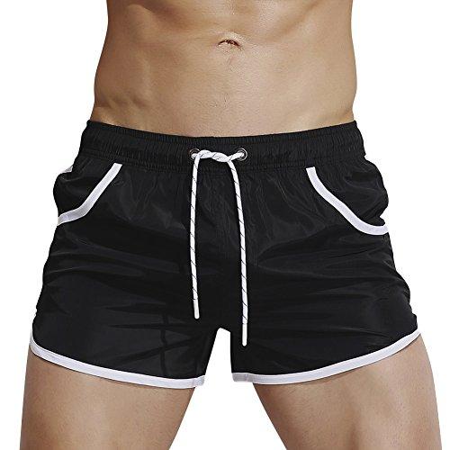 Dolamen Homme Maillot de Bain, 2018 Short de Bain Homme Pant Court de Sport/ Plage/ Beach Bermudas colore Trunks Pantalon Boxers Slip cordon ajustable à l'intérieur Les poches (XX-Large, Noir)