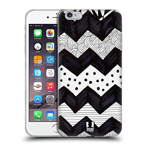 Head Case Designs Pois Griffonnage Blanc Et Noir Étui Coque en Gel molle pour Apple iPhone 6 / 6s Chevron