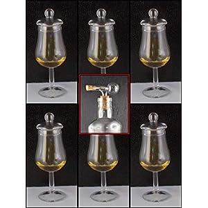 H-BO whisky-chocolate 6 Tasting Gläser Form Signatory mit Knopfdeckel ohne lästige Werbung im Original Karton + 1 Flaschenportionierer