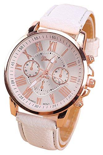 Geneva Kunstleder Armband Armbanduhr (weiss)