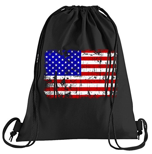 T-Shirt People USA Vintage Flagge Fahne Sportbeutel - Bedruckter Beutel - Eine schöne Sport-Tasche Beutel mit Kordeln
