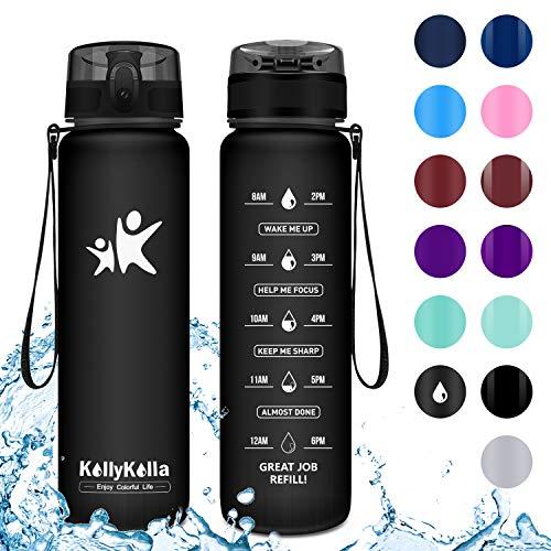 KollyKolla Trinkflasche - BPA-frei Auslaufsicher Sport Wasserflasche, 1L Tritan Sportflasche Kohlensäure Geeignet Kunststoff mit Filter für Kinder, Schule, Baby, Fahrrad, Gym, Matte Schwarz