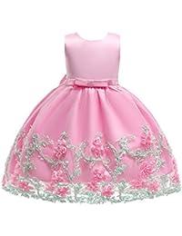 e99e85f7e Lonshell Flor bebé niñas Vestido de Princesa Vestidos sin Mangas niña de Fiesta  Ropa Formal Vestidos