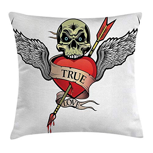 ZMYGH Tattoo Throw Pillow Cushion Cover, Angel Wings with Skull Heart Full of Blood Symbol of Real Love Valentine's, Decorative Square Accent Pillow Case, 18 X 18 Inches, Red White and Black