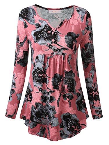 Rosa V-neck Tee (WAJAT Damen Langarmshirt Henley V-Ausschinitt Vintage Basic Rosa-Blumen M)