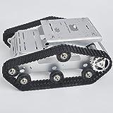 KOOKYE Robot Car Voiture Smart Tank Chassis Plate-Forme Robotique Metal en Acier Inoxydable 2DW Moteur 9 V Arduino/Raspberry Pi DIY (TR300)