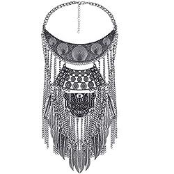 YAZILIND de plata collar de la declaración de los collares de la vendimia Crystal Maxi Gargantilla de plata Collier Boho joyería de las mujeres