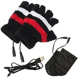 Doux en peluche hiver USB électrique Gants sans doigts Chauffage Chauffe chauffe-mains Gants Ordinateur Ordinateur Portable la chaleur Gants moufles