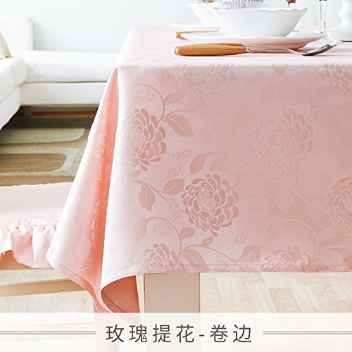 WFLJL Nappe Style européen IMPERMÉABLE couleur solide Table à manger Rectangle petit frais Table basse Rose 140*180cm