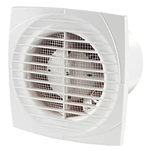 """Classic White Bathroom/Toilet/Kitchen/Shower Extractor Fans 100mm 4"""" dia with Shutter, Humidity & Timer"""