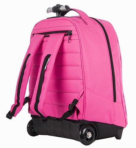 Imagen de big trolley kappa  logo   con ruedas y correas de hombro ocultables rosa 31lt alternativa