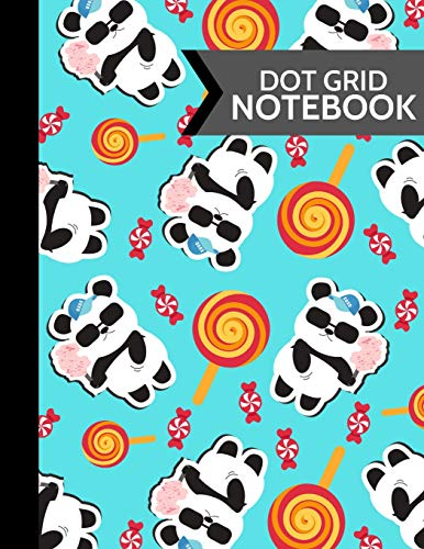 Dot Grid Notebook: Panda & Candy Softcover Dot Grid Journal for Kids, Boys and Girls