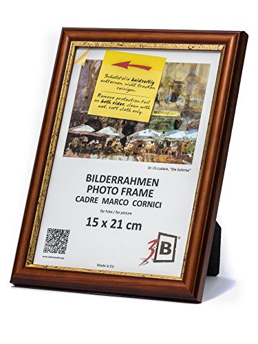 3-B Bilderrahmen BARI RUSTIKAL - dunkel braun - 15x21 cm (A5) - Holzrahmen, Fotorahmen, Portraitrahmen mit Plexiglas