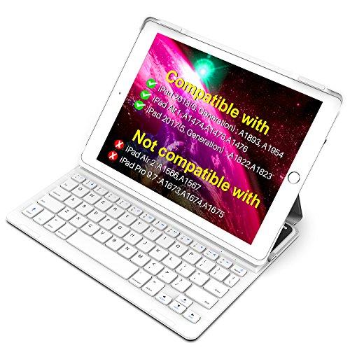 Inateck Ultra Slim Bluetooth Tastatur Hülle für iPad 2018(6. Generation), iPad 2017(5.Generation) und iPad Air 1, Keyboard Case mit automatischer wake/sleep- und Mulit-Angle- Ständer-Funktion(BK2003)