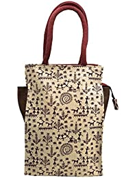 Zephyrr New Handbag Hand Painted Warli Art Jute Bag White Human Pattern