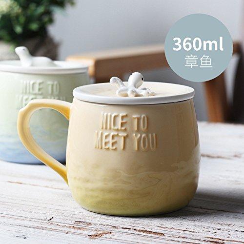 ik Tasse Meeresboden Korean 3D Stereo Geprägte Big Belly Einfache Kreative Kaffee Milch Keramik Tasse mit Deckel, Krake (gelb und grün), 360ml ()