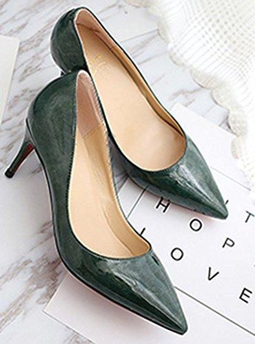 Aisun Femme Mode Kitten-Heel Bout Pointu Printemps Escarpins Vert
