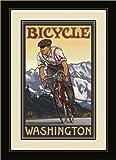 Northwest Art Mall pal-0442fgdm DBM Fahrrad Washington Downhill Biker Berge gerahmtes Wandbild Art von Künstler Paul A. lanquist, 16by 22