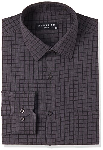 Diverse Men's Checkered Slim Fit Cotton Formal Shirt (DVF01F2L01-275-44_Black_44)
