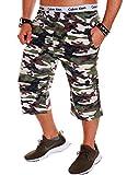 Herren Shorts Bermuda Kurze Hose Camouflage Camou R.B.1.2 (M, Grün (501)