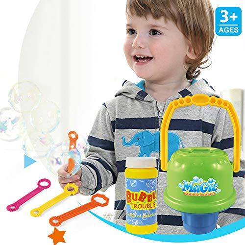 heDIANz Outdoor-Kinderspielzeug No-Spill Bubble-Eimer mit Schlagstab und 100ml Lösung