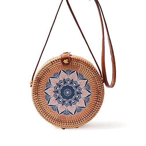 Pawaca Handgewebte Runde Rattantasche mit Schönem Druck, Natürliche Handgemachte Umhängetasche Mode Schulter Lederband Bali Bag für Frauen Einkaufen, Wandern, Camping, Strand